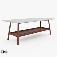 handcrafted mid-century rectangular coffee table 3d 3ds