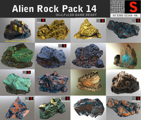 3d model of alien rock pack 14