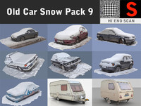 3d model old car snow pack