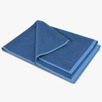 3d towel 4 blue fur model
