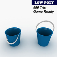 blue plastic bucket 3d model