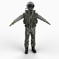 combat fighter pilot 3d model