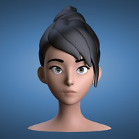 cartoon girl head 3d max