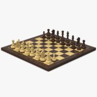 chessboard wood 3d model