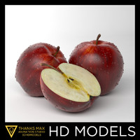 apple red photorealistic 3d obj