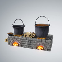3d stylized old fireplace pots