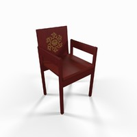 red wooden garden chair obj