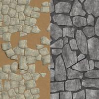 rock tiles wall 3d model
