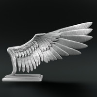 3d sculpture bird wings rigged model