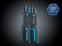 3d model of sci fi futuristic building