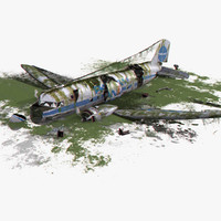 3d dc-3 air crash 3 model