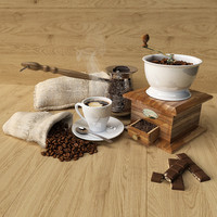 3d coffee set model