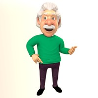 3d rigged cartoon professor model