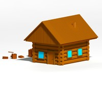 cartoon wooden cottage 3d obj