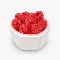 3d realistic raspberry plate 3