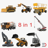 3d model construction vehicles rigged 2
