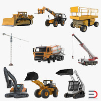 3d model construction vehicles rigged