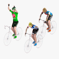 racing cyclist set rigged obj