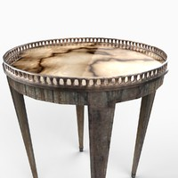 french petite table marble 3d model