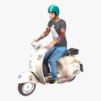 vespa rider rigged 3d model