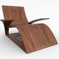 realistic wooden lounger 3d obj