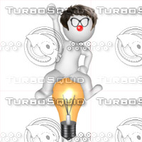 3D Man with light bulb 2