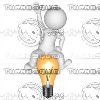 3D Man with light bulb 1