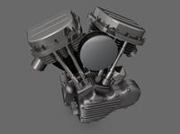harley panhead motor motorcycle 3d model