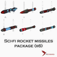 sci-fi rocket missiles pack 3d 3ds