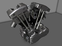 shovelhead motor motorcycle 3d model