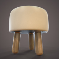 3d model leather stool