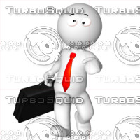 3D Man with a briefcase 2