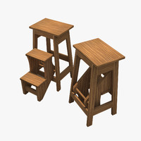 3d flip-out step stool model