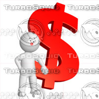 3D Man with dollar sign 2
