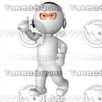 3D Man listening music 3