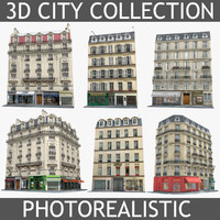6 parisian houses set 3d 3ds