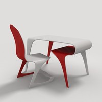 3d model futuristic table chair