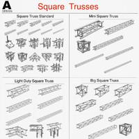 square trusses 001 3d model