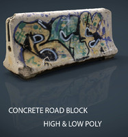 3d model concrete road block