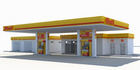 3d model gas station shell
