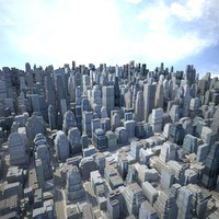 3d cityscape scene highrise model