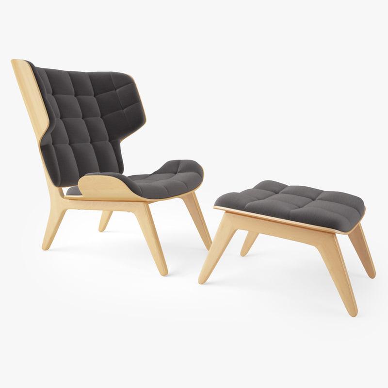 Mammoth chair ottoman norr 3d obj for Chair 23 mammoth