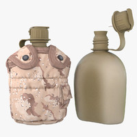 3d military canteen 3 containing model
