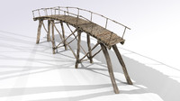 3d aged wooden bridge model