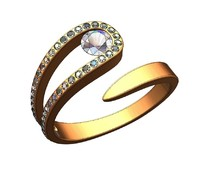 Snake solitaire ring
