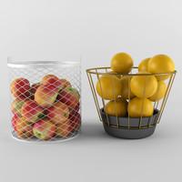 3ds max basket wicker fruit