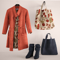 red coat and bags