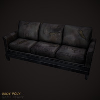 3d model leather sofa old