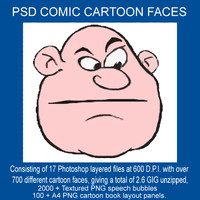 COMIC CARTOON FACES  - 17 Photoshop layered files + Bonus speech bubbles & A4 Panels.