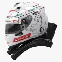 racing helmet sebastian vettel 3d model